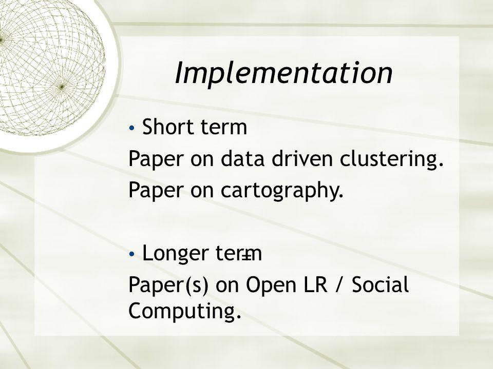 Implementation = Short term Paper on data driven clustering.