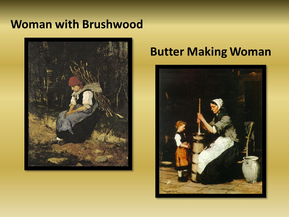 Woman with Brushwood Butter Making Woman