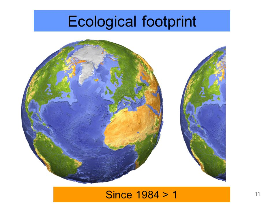 11 Ecological footprint Since 1984 > 1