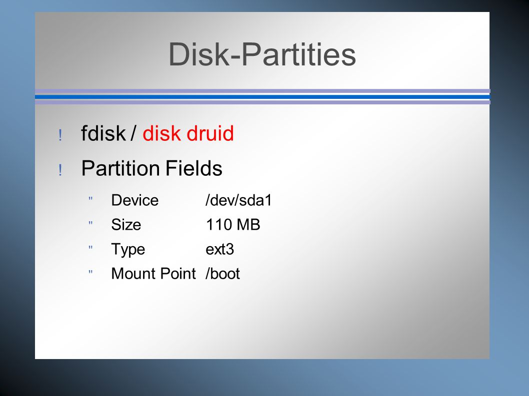Disk-Partities  fdisk / disk druid  Partition Fields  Device /dev/sda1  Size 110 MB  Type ext3  Mount Point /boot