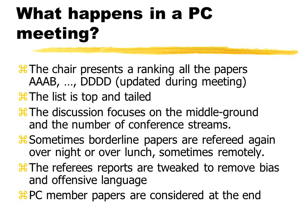What happens in a PC meeting.