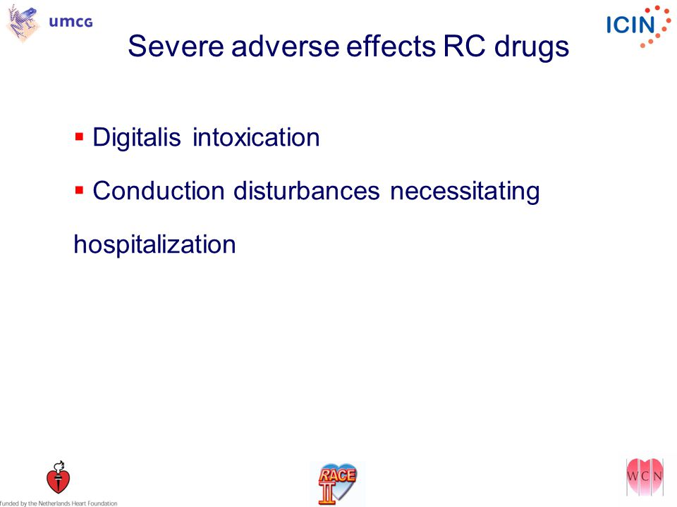 Severe adverse effects RC drugs  Digitalis intoxication  Conduction disturbances necessitating hospitalization