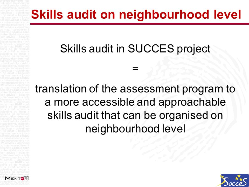 Skills audit on neighbourhood level Skills audit in SUCCES project = translation of the assessment program to a more accessible and approachable skills audit that can be organised on neighbourhood level