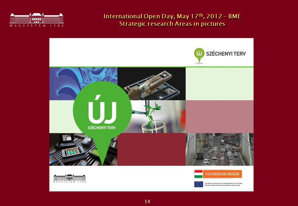 14 International Open Day, May 17 th, 2012 – BME Strategic research Areas in pictures