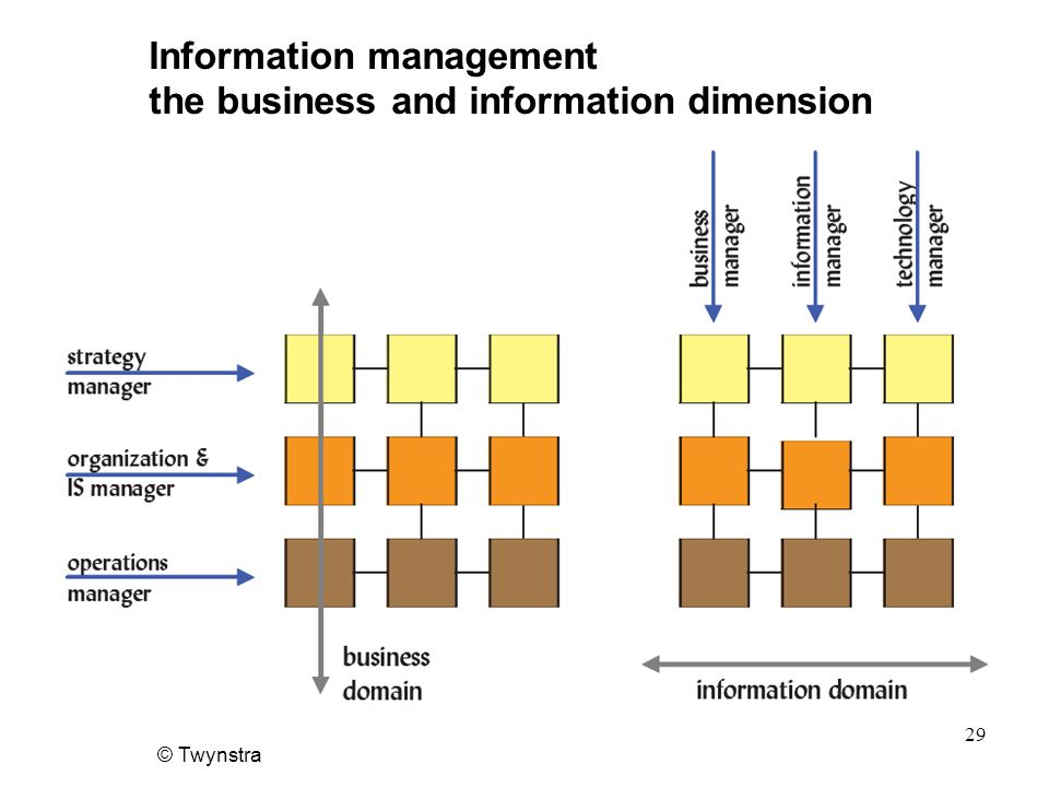 © Twynstra 29 Information management the business and information dimension