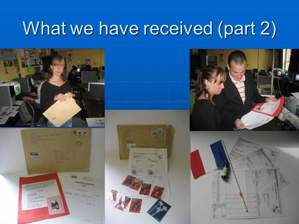 Belgium 19 What we have received (part 2)