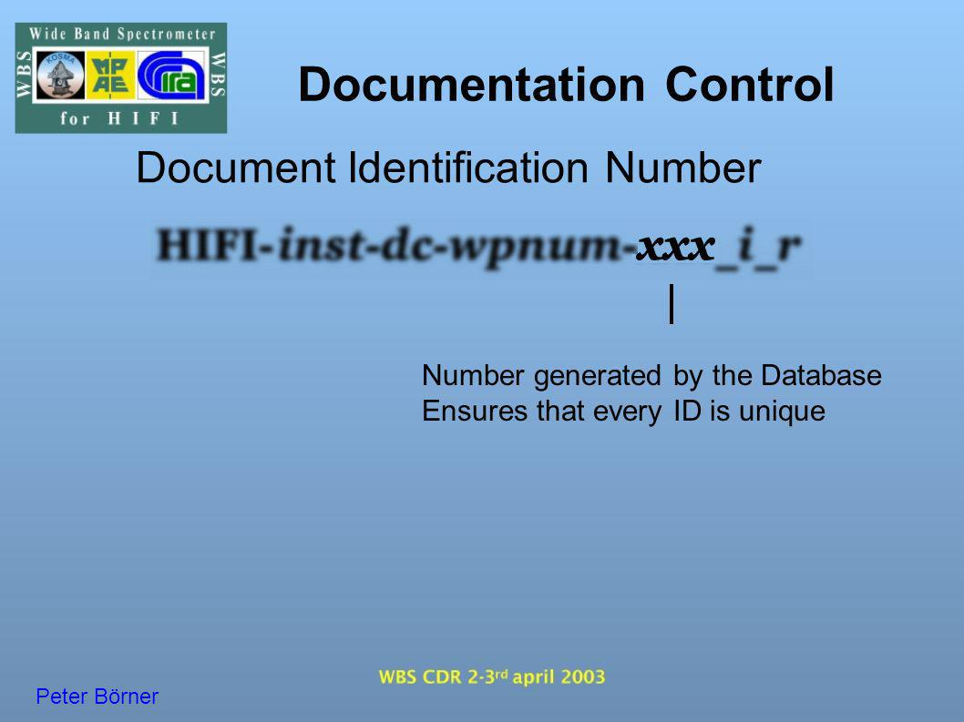 Documentation Control Document Identification Number Number generated by the Database Ensures that every ID is unique Peter Börner