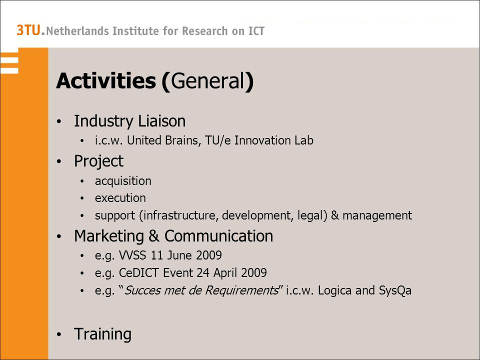 Activities (General) Industry Liaison i.c.w.