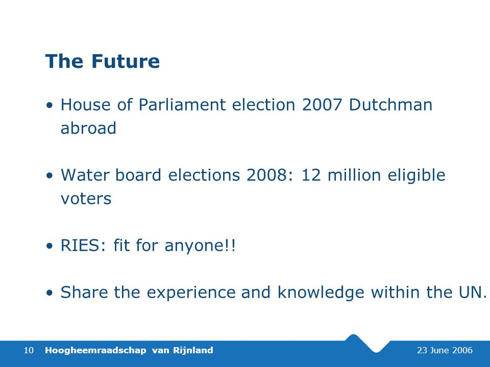 Hoogheemraadschap van Rijnland 23 June 200610 The Future House of Parliament election 2007 Dutchman abroad Water board elections 2008: 12 million eligible voters RIES: fit for anyone!.