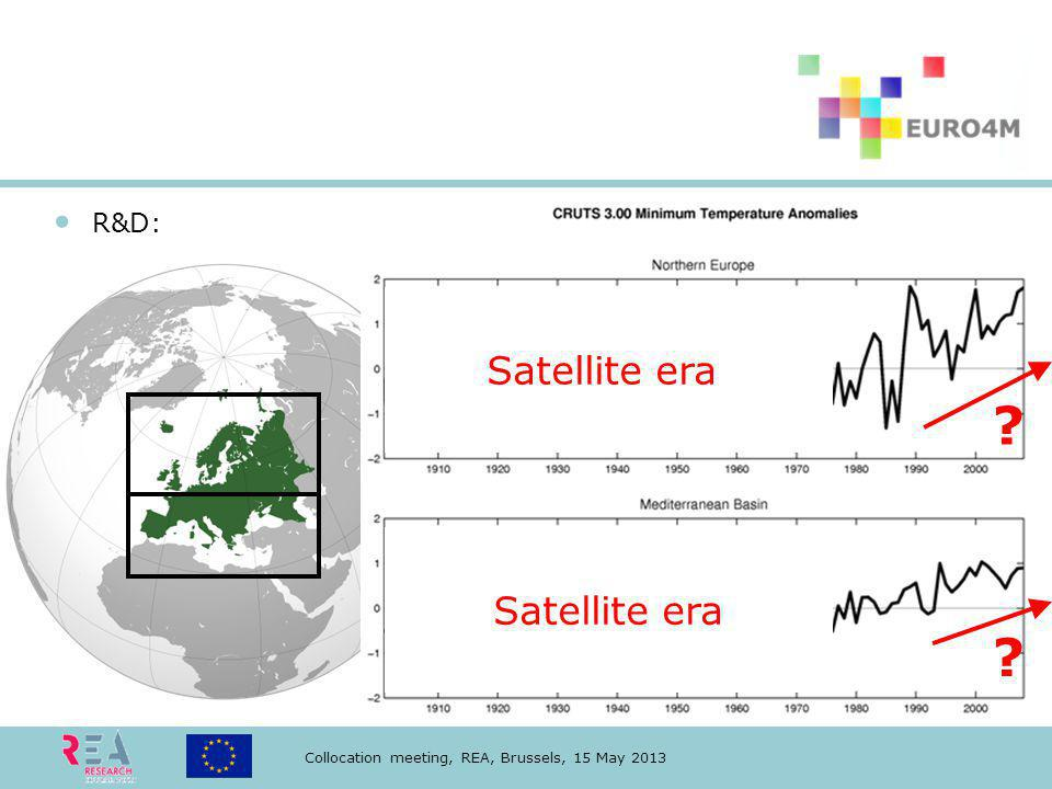 Collocation meeting, REA, Brussels, 15 May 2013 Satellite era R&D: