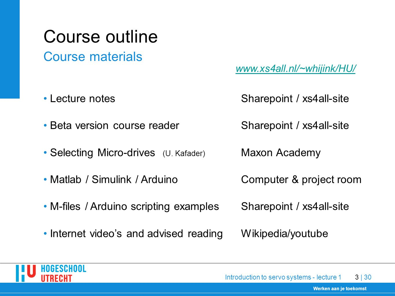 Delft University of Technology Werken aan je toekomst 30-1-2009 Introduction to servo systems - lecture 13 | 30 Course outline Lecture notesSharepoint / xs4all-site Beta version course readerSharepoint / xs4all-site Selecting Micro-drives (U.