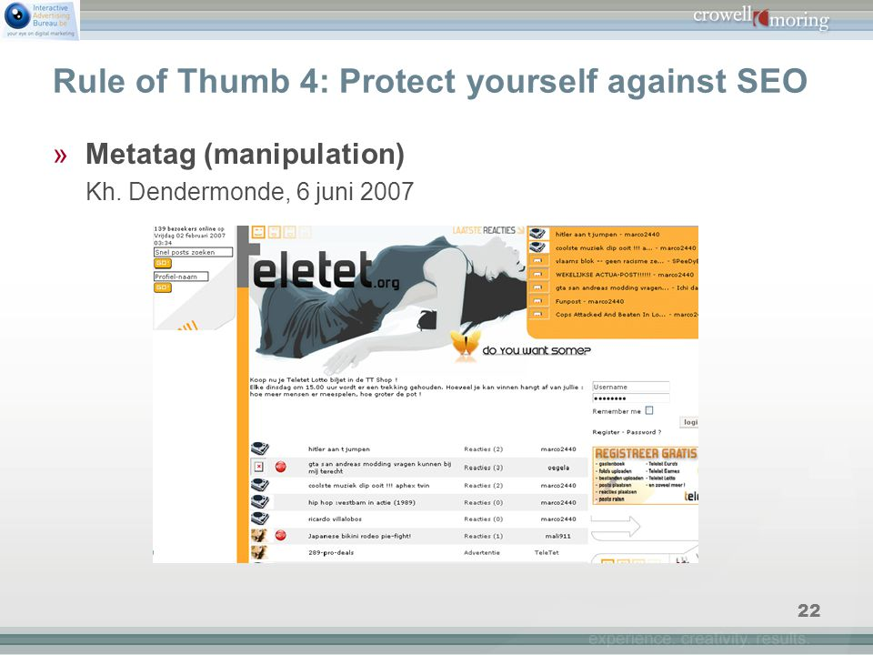 22 Rule of Thumb 4: Protect yourself against SEO »Metatag (manipulation) Kh.