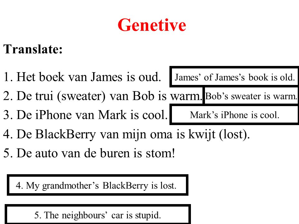 Genetive Translate: 1. Het boek van James is oud.