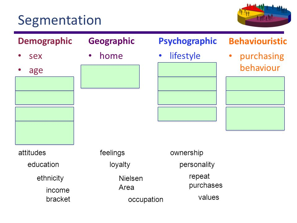 Segmentation Demographic sex age ethnicity education occupation income bracket Geographic home Nielsen Area Psychographic lifestyle values personality feelings attitudes Behaviouristic purchasing behaviour loyalty ownership repeat purchases ethnicity values ownership repeat purchases education occupation income bracket personality feelingsattitudes loyalty Nielsen Area