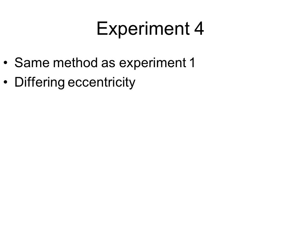 Experiment 4 Same method as experiment 1 Differing eccentricity