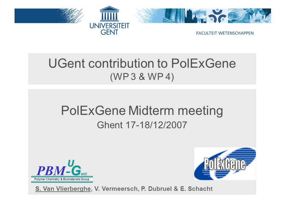 UGent contribution to PolExGene (WP 3 & WP 4) PolExGene Midterm meeting Ghent 17-18/12/2007 PBM G ent - G entU Polymer Chemistry & Biomaterials Group S.