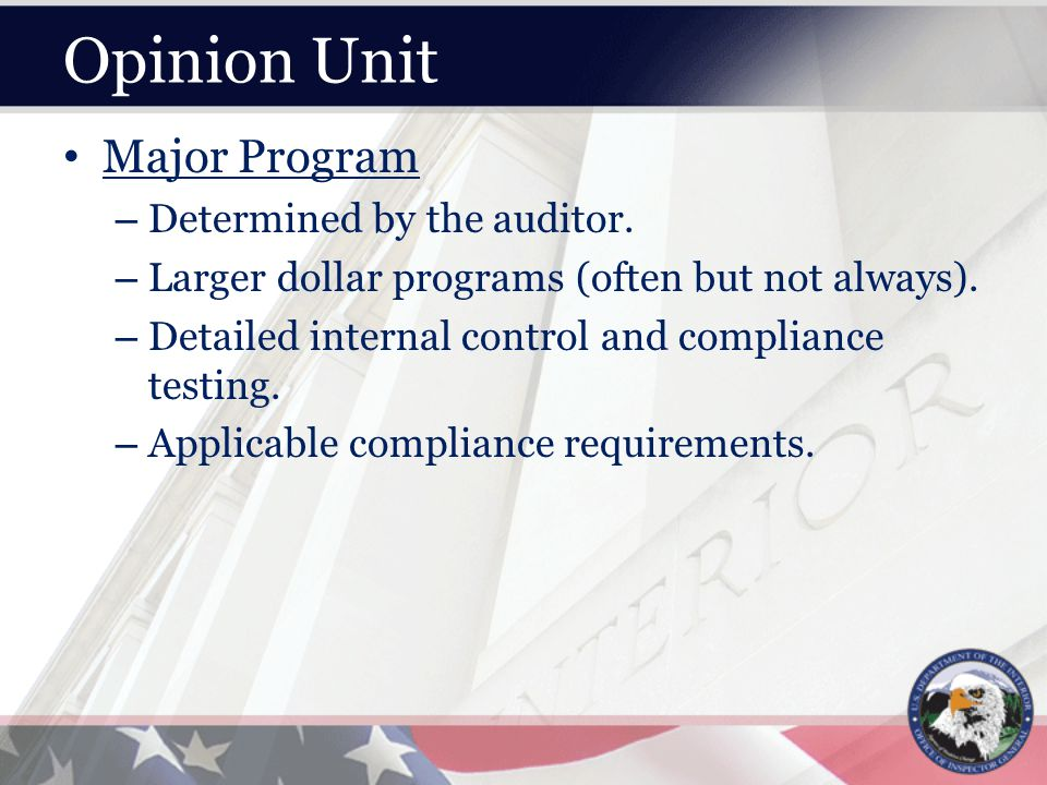 Opinion Unit Major Program – Determined by the auditor.