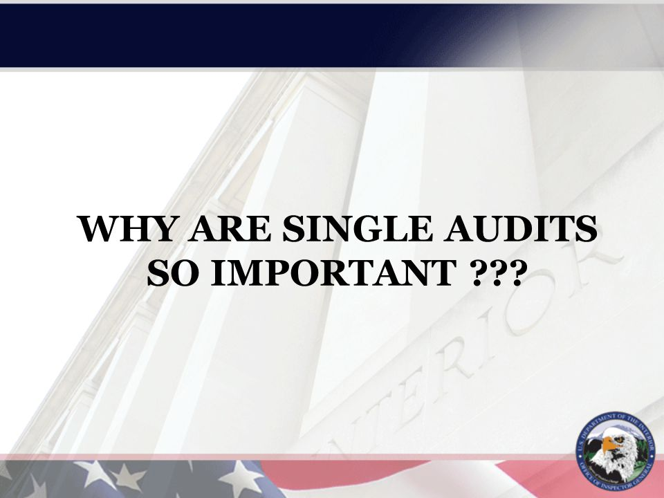 WHY ARE SINGLE AUDITS SO IMPORTANT