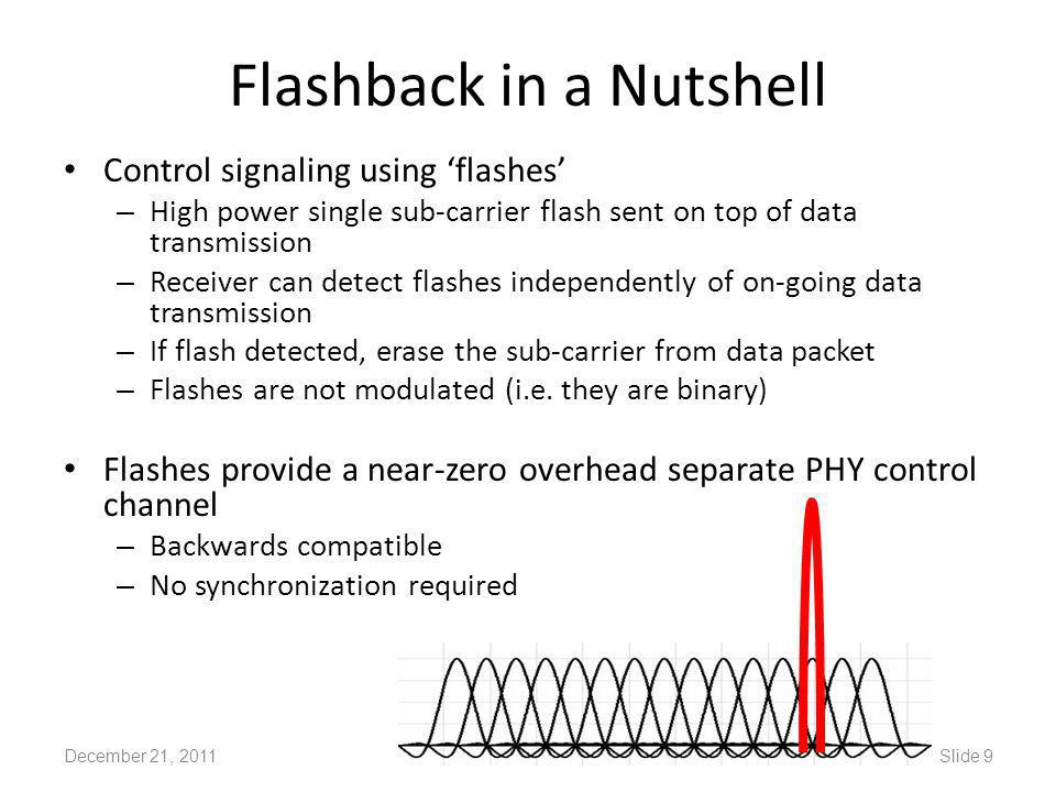 Flashback in a Nutshell Control signaling using 'flashes' – High power single sub-carrier flash sent on top of data transmission – Receiver can detect flashes independently of on-going data transmission – If flash detected, erase the sub-carrier from data packet – Flashes are not modulated (i.e.