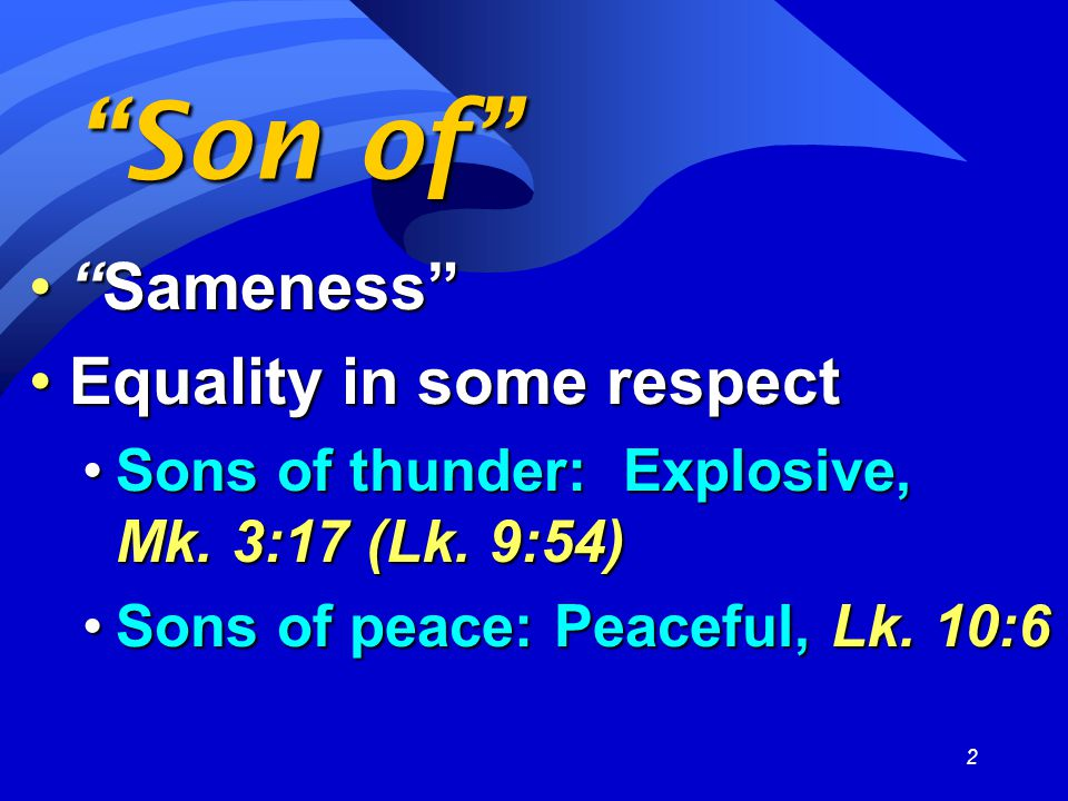 2 Son of Sameness Sameness Equality in some respectEquality in some respect Sons of thunder: Explosive, Mk.