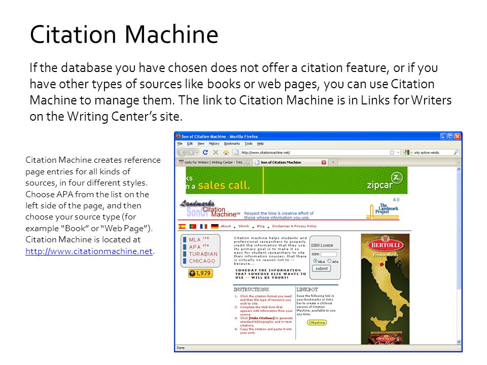 Citation Machine If the database you have chosen does not offer a citation feature, or if you have other types of sources like books or web pages, you can use Citation Machine to manage them.