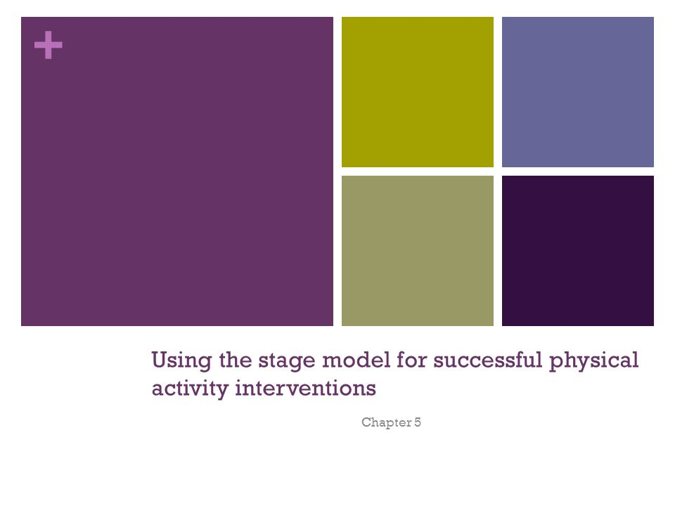 + Using the stage model for successful physical activity interventions Chapter 5