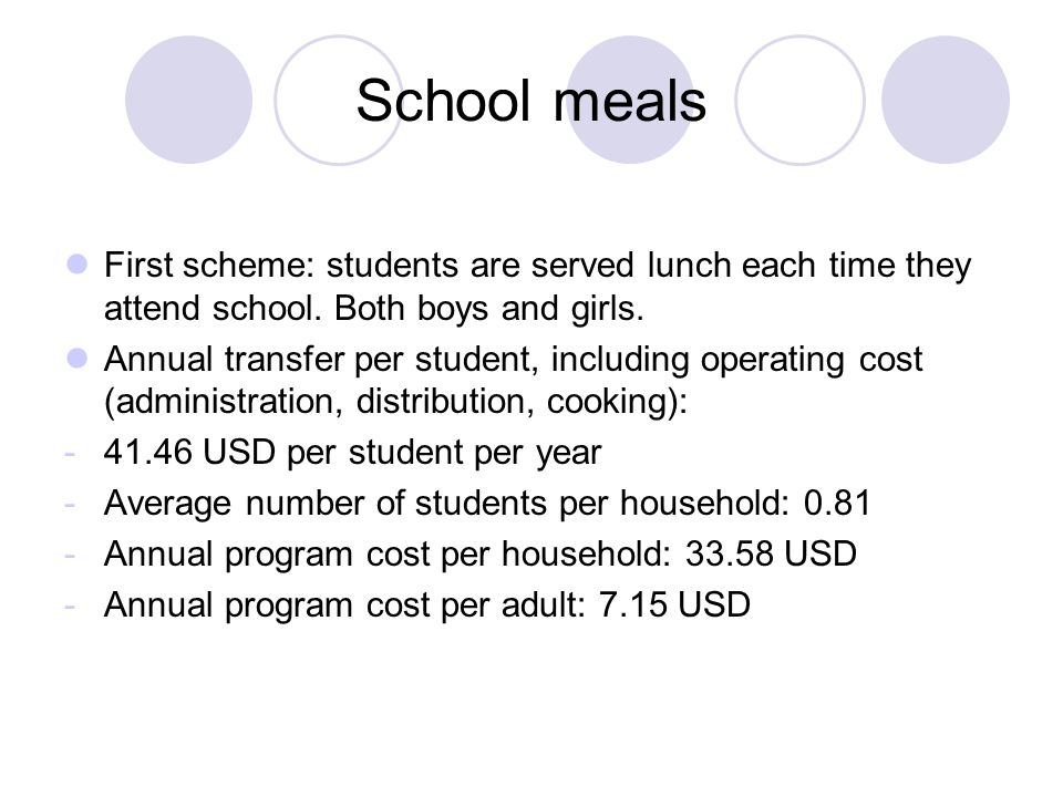 School meals First scheme: students are served lunch each time they attend school.