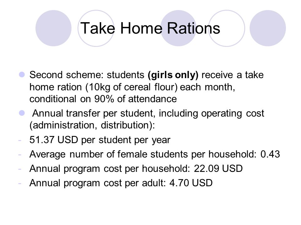 Take Home Rations Second scheme: students (girls only) receive a take home ration (10kg of cereal flour) each month, conditional on 90% of attendance Annual transfer per student, including operating cost (administration, distribution): -51.37 USD per student per year -Average number of female students per household: 0.43 -Annual program cost per household: 22.09 USD -Annual program cost per adult: 4.70 USD