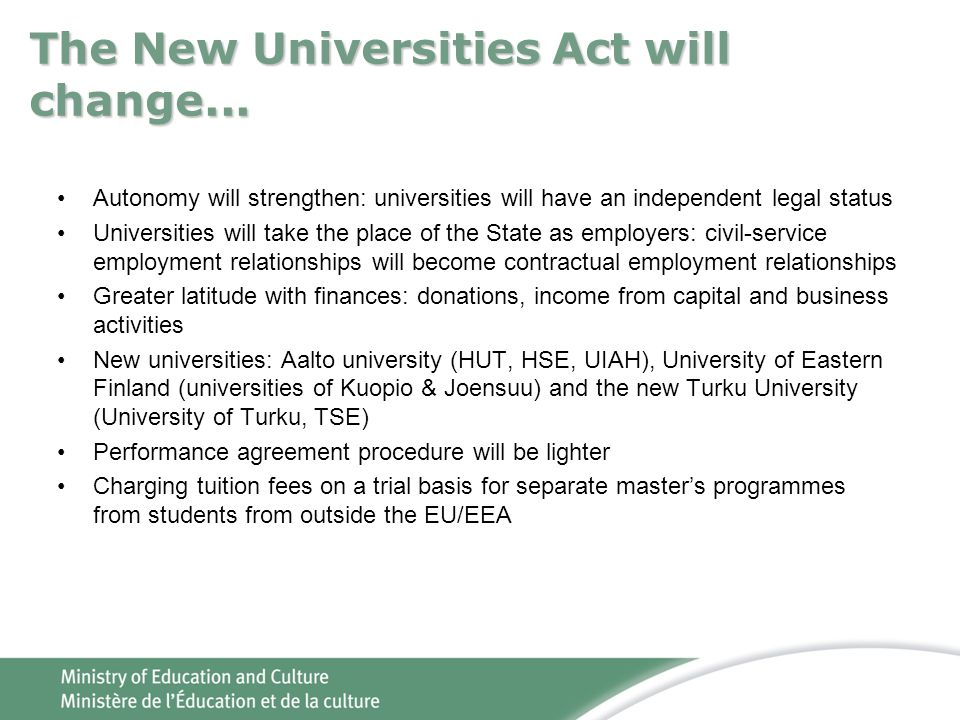 The New Universities Act will change...