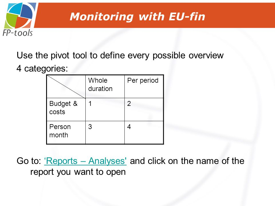 Monitoring with EU-fin Use the pivot tool to define every possible overview 4 categories: Go to: 'Reports – Analyses and click on the name of the report you want to open'Reports – Analyses Whole duration Per period Budget & costs 12 Person month 34
