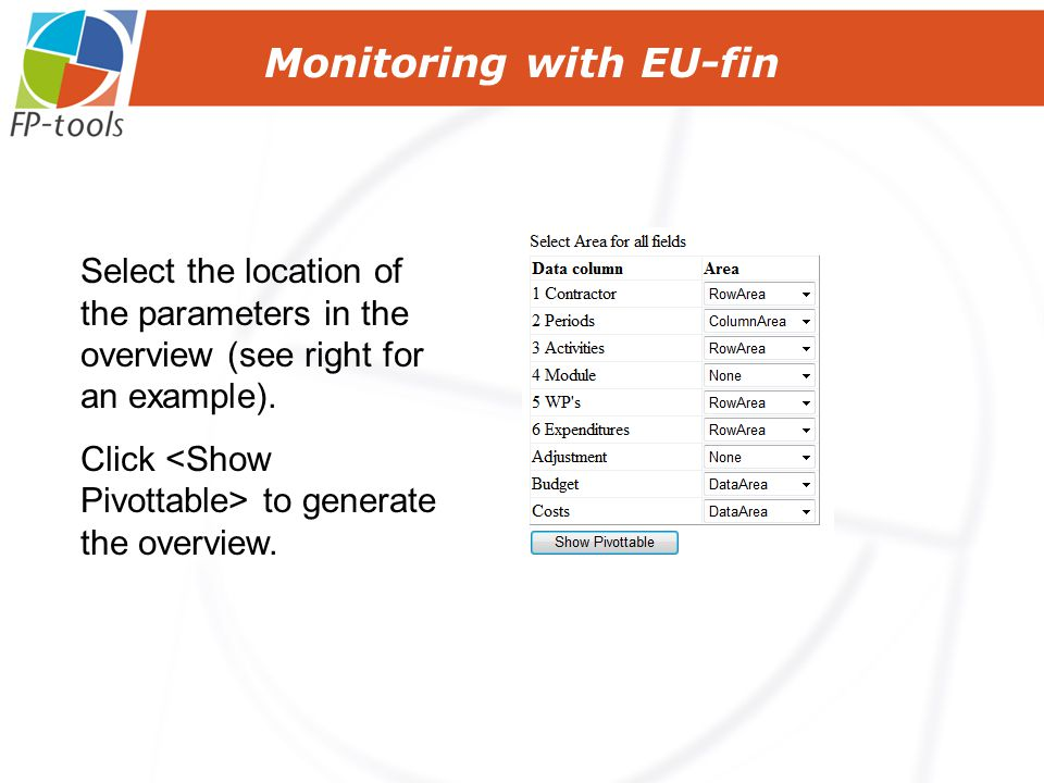 Monitoring with EU-fin Select the location of the parameters in the overview (see right for an example).