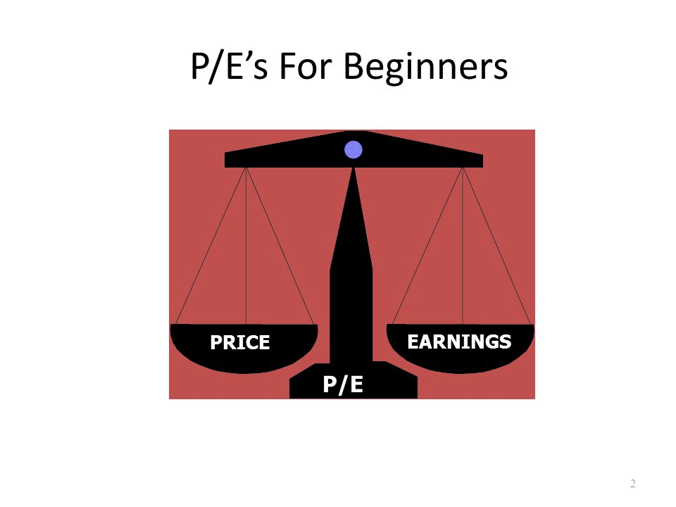 P/E's For Beginners 2 PRICEEARNINGS P/E Created by Gretchen Hurt Amendments by Craig Jacobsen