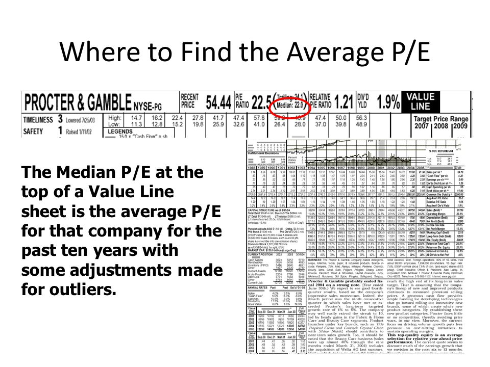 Where to Find the Average P/E 27 The Median P/E at the top of a Value Line sheet is the average P/E for that company for the past ten years with some adjustments made for outliers.