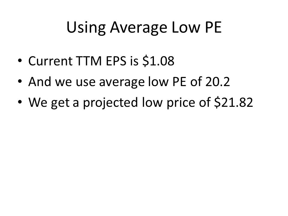 Using Average Low PE Current TTM EPS is $1.08 And we use average low PE of 20.2 We get a projected low price of $21.82