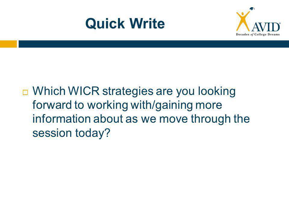 Quick Write  Which WICR strategies are you looking forward to working with/gaining more information about as we move through the session today