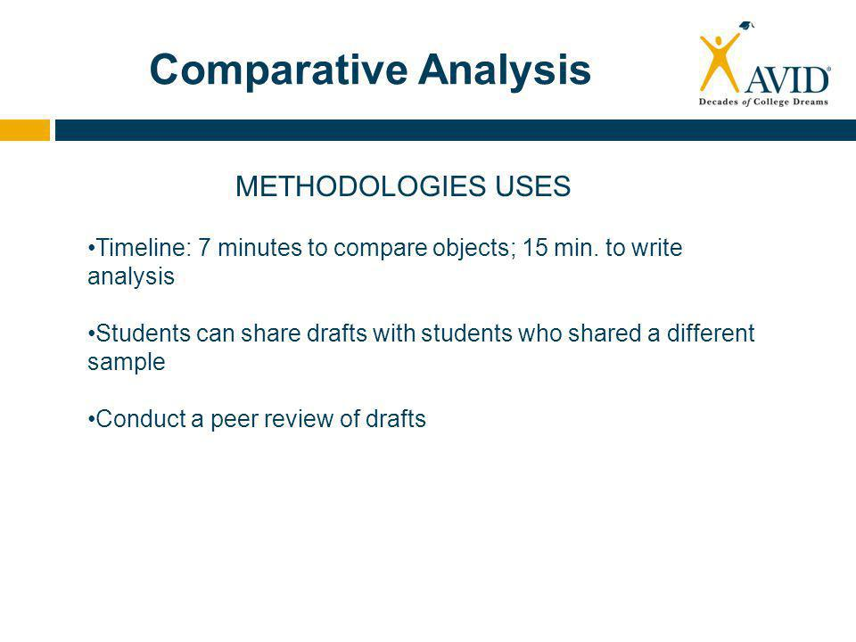 Comparative Analysis METHODOLOGIES USES Timeline: 7 minutes to compare objects; 15 min.