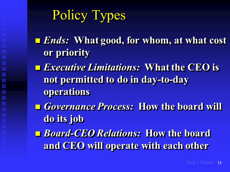 11 Policy Types Ends: What good, for whom, at what cost or priority Ends: What good, for whom, at what cost or priority Executive Limitations: What the CEO is not permitted to do in day-to-day operations Executive Limitations: What the CEO is not permitted to do in day-to-day operations Governance Process: How the board will do its job Governance Process: How the board will do its job Board-CEO Relations: How the board and CEO will operate with each other Board-CEO Relations: How the board and CEO will operate with each other Ends: What good, for whom, at what cost or priority Ends: What good, for whom, at what cost or priority Executive Limitations: What the CEO is not permitted to do in day-to-day operations Executive Limitations: What the CEO is not permitted to do in day-to-day operations Governance Process: How the board will do its job Governance Process: How the board will do its job Board-CEO Relations: How the board and CEO will operate with each other Board-CEO Relations: How the board and CEO will operate with each other End v Means