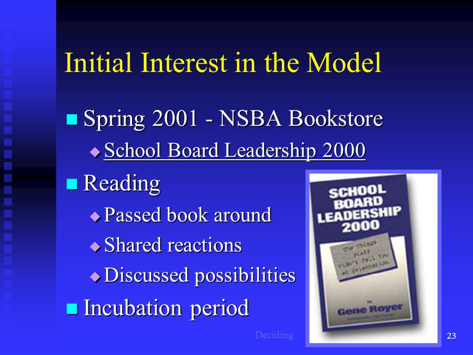 23 Initial Interest in the Model Spring 2001 - NSBA Bookstore Spring 2001 - NSBA Bookstore  School Board Leadership 2000 Reading Reading  Passed book around  Shared reactions  Discussed possibilities Incubation period Incubation period Deciding