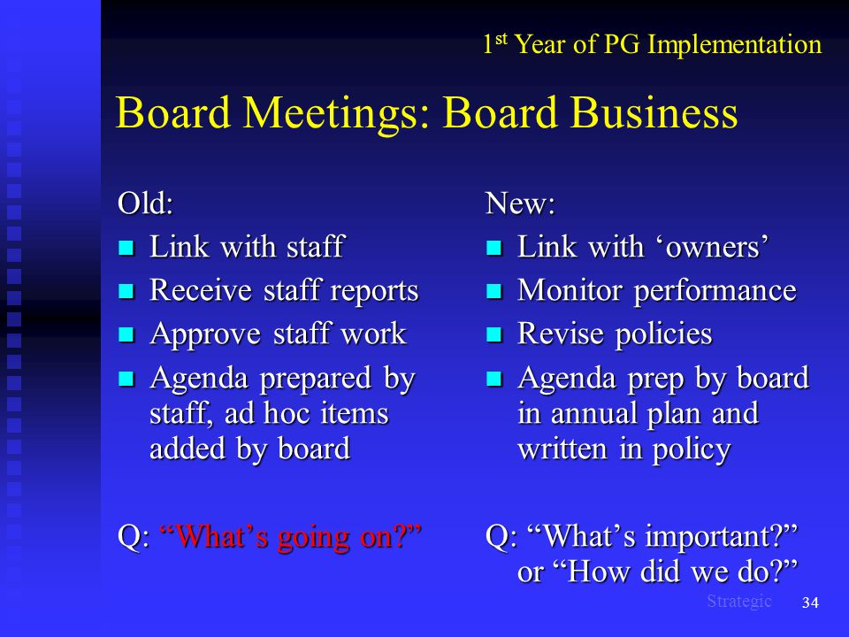 34 Board Meetings: Board Business Old: Link with staff Link with staff Receive staff reports Receive staff reports Approve staff work Approve staff work Agenda prepared by staff, ad hoc items added by board Agenda prepared by staff, ad hoc items added by board Q: What's going on New: Link with 'owners' Monitor performance Revise policies Agenda prep by board in annual plan and written in policy Q: What's important or How did we do 1 st Year of PG Implementation Strategic