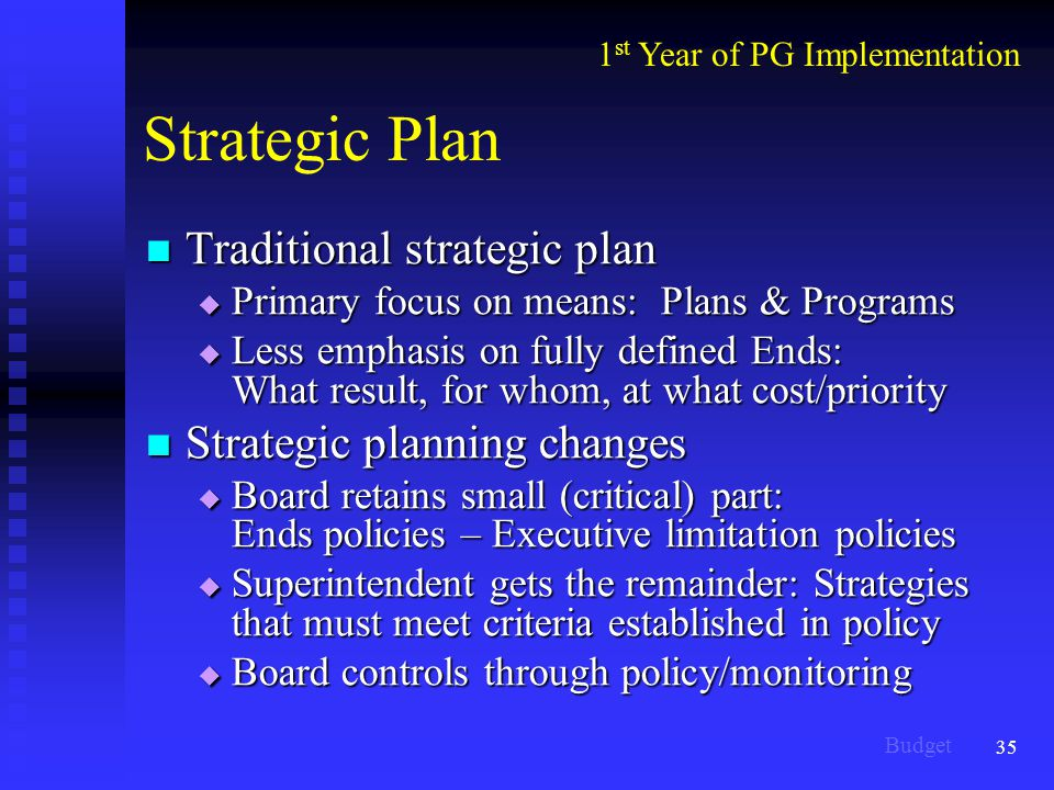 35 Strategic Plan Traditional strategic plan Traditional strategic plan  Primary focus on means: Plans & Programs  Less emphasis on fully defined Ends: What result, for whom, at what cost/priority Strategic planning changes Strategic planning changes  Board retains small (critical) part: Ends policies – Executive limitation policies  Superintendent gets the remainder: Strategies that must meet criteria established in policy  Board controls through policy/monitoring 1 st Year of PG Implementation Budget