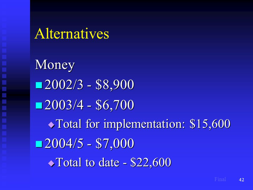42 Alternatives Money 2002/3 - $8,900 2002/3 - $8,900 2003/4 - $6,700 2003/4 - $6,700  Total for implementation: $15,600 2004/5 - $7,000 2004/5 - $7,000  Total to date - $22,600 Final