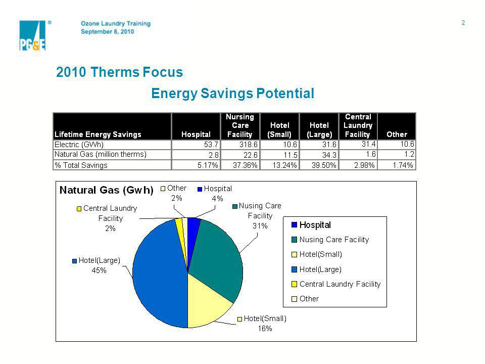 Energy Savings Potential Scope: 2010 Therms Focus 2