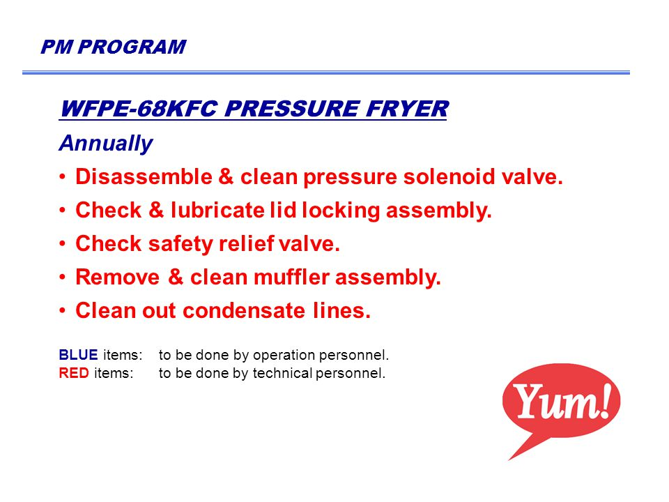 PM PROGRAM WFPE-68KFC PRESSURE FRYER Annually Disassemble & clean pressure solenoid valve.