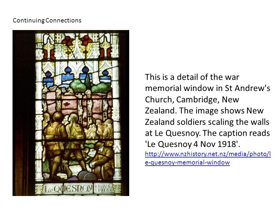 This is a detail of the war memorial window in St Andrew s Church, Cambridge, New Zealand.