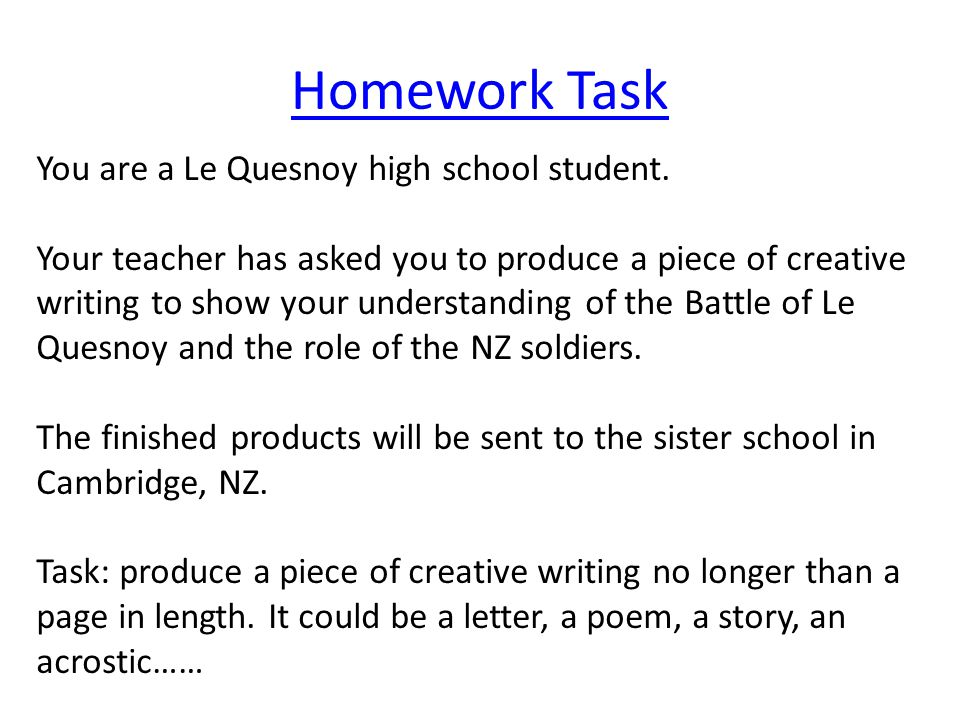 Homework Task You are a Le Quesnoy high school student.