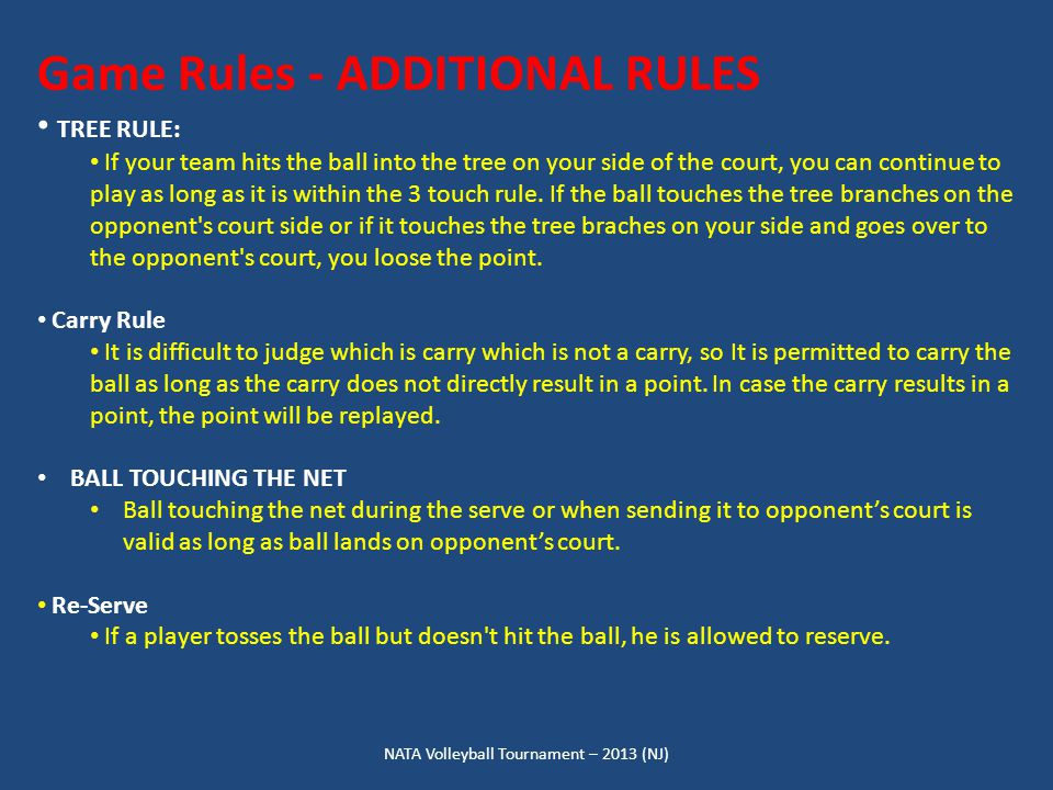 NATA Volleyball Tournament – 2013 (NJ) Game Rules - ADDITIONAL RULES TREE RULE: If your team hits the ball into the tree on your side of the court, you can continue to play as long as it is within the 3 touch rule.