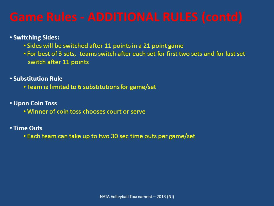 NATA Volleyball Tournament – 2013 (NJ) Game Rules - ADDITIONAL RULES (contd) Switching Sides: Sides will be switched after 11 points in a 21 point game For best of 3 sets, teams switch after each set for first two sets and for last set switch after 11 points Substitution Rule Team is limited to 6 substitutions for game/set Upon Coin Toss Winner of coin toss chooses court or serve Time Outs Each team can take up to two 30 sec time outs per game/set