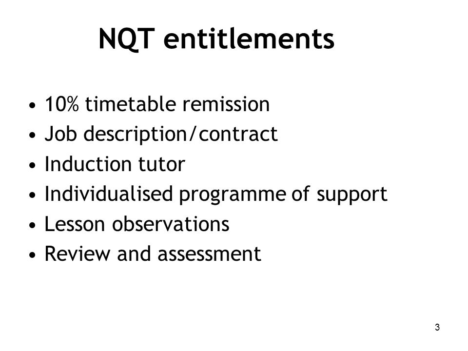 NQT entitlements 10% timetable remission Job description/contract Induction tutor Individualised programme of support Lesson observations Review and assessment 3