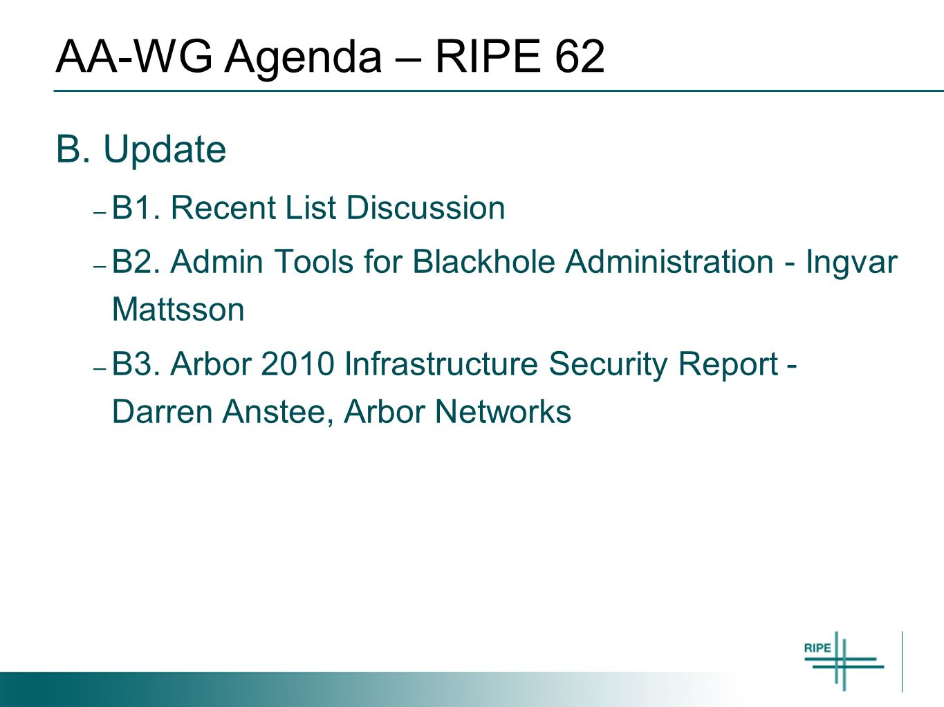 AA-WG Agenda – RIPE 62 B. Update – B1. Recent List Discussion – B2.