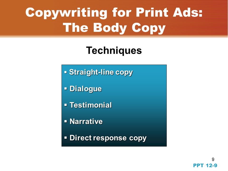 8 PPT 12-8 This ad follows all the guidelines for subheads. Ad in Context Example